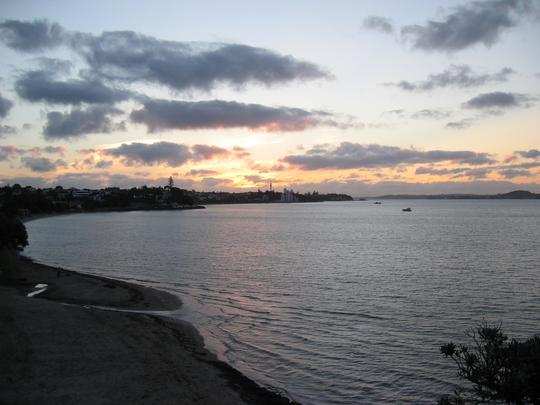 St Heliers beach with Auckland at Sunset